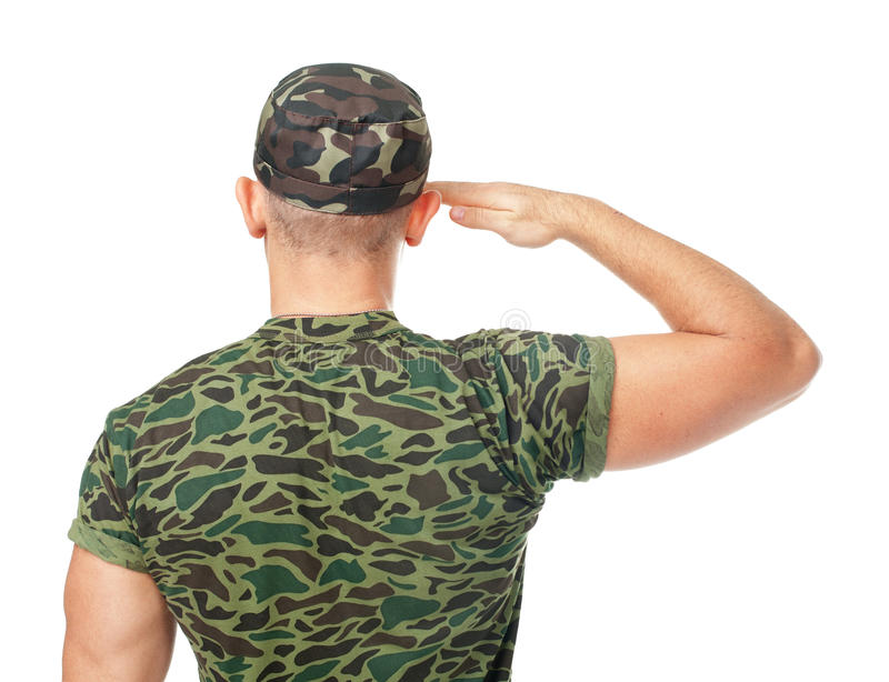 Back view of army soldier saluting royalty free stock image