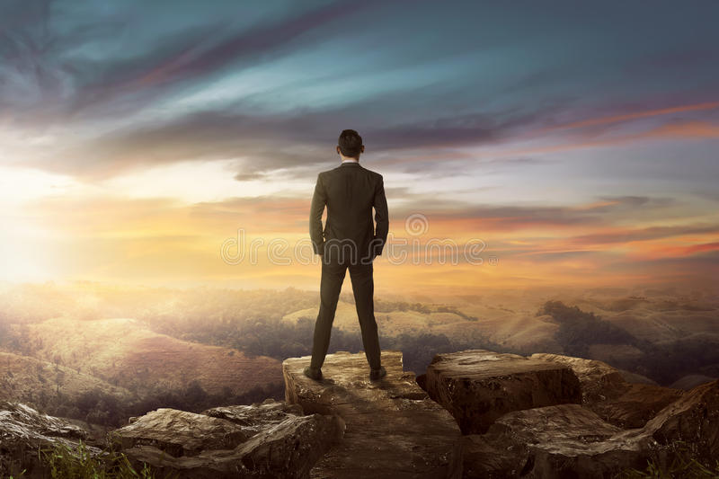 Rear view of asian businessman on the top of the hill looking wonderful scenery royalty free stock photo