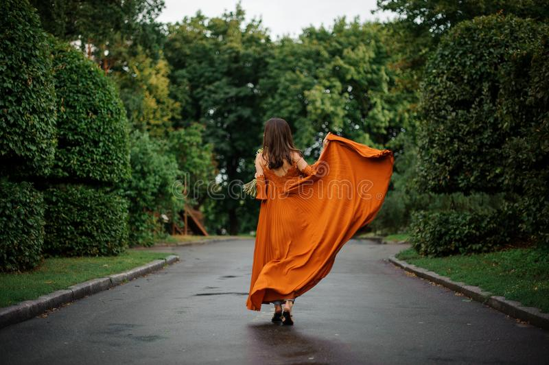 Back view of attractive woman in long orange dress standing on the road stock image