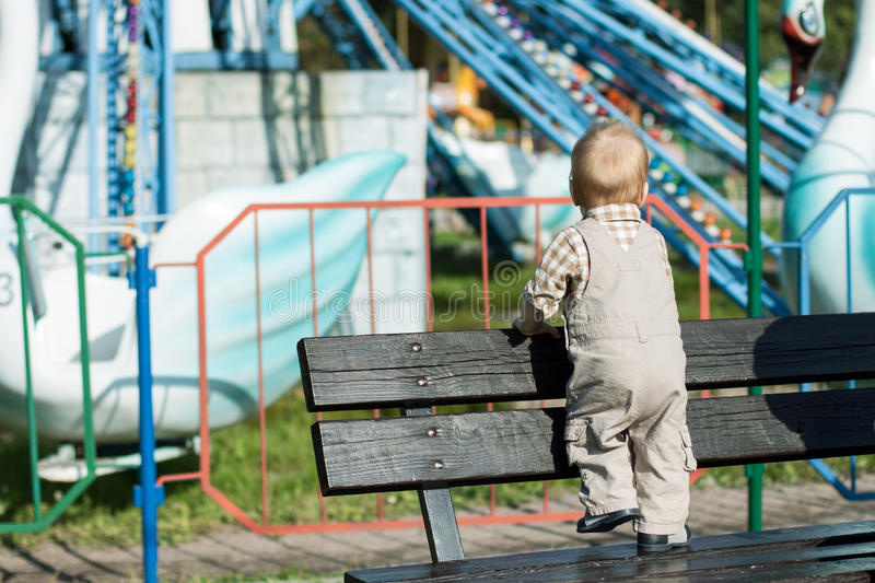 Download Back View Of Baby Looking At Carousel In Attractions Park Stock Photo - Image: 36702970