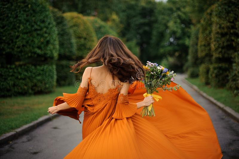 Back view of beautiful woman in long orange dress royalty free stock photo