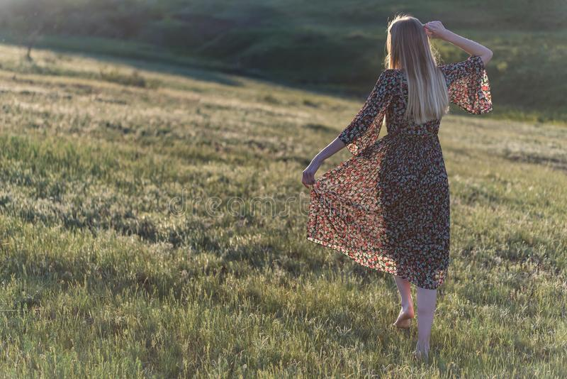 Beautiful long-haired girl in dress poses in filed royalty free stock photography
