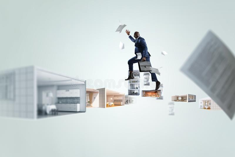 Back view of black businessman running over different versions of interior with papers flying around against white stock photos