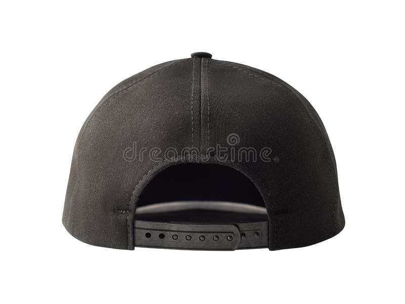 Black snapback cap isolated on white. Back view of black snapback cap or trucker hat isolated on white background stock images