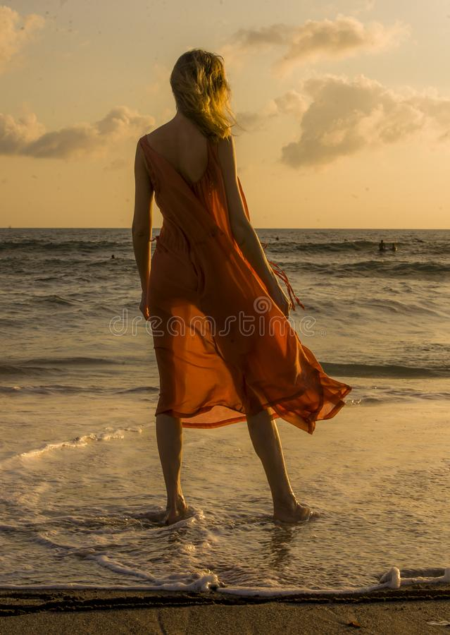Back view of blond and glamorous blond woman posing at the beach wearing stylish and sensual dress looking at the sea in summer ho stock photos