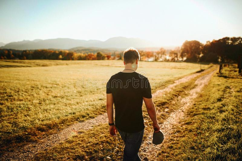 Back, View, Boy, Dirt royalty free stock image
