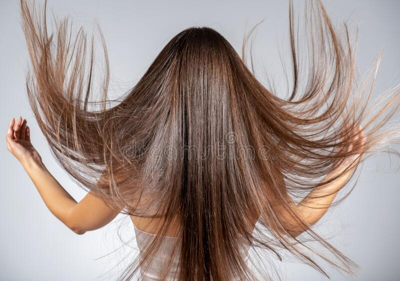 Back view of a brunette woman with a long straight hair stock image