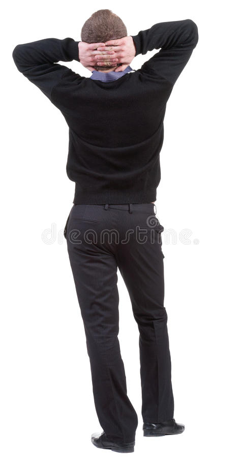 Download Back View Of Business Man  Looks Ahead. Stock Image - Image: 24818501