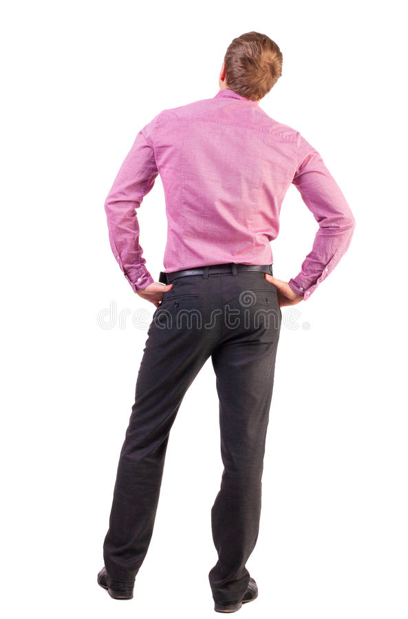 Back view of Business man looks ahead royalty free stock image