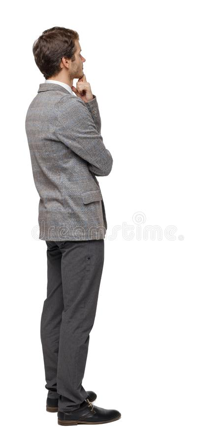 Back view of Business man looks stock photo