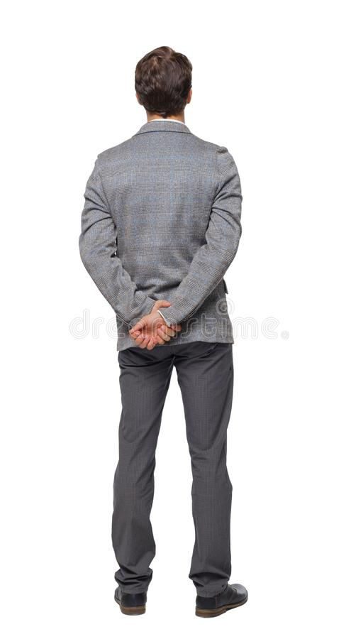 Back view of Business man looks stock photography