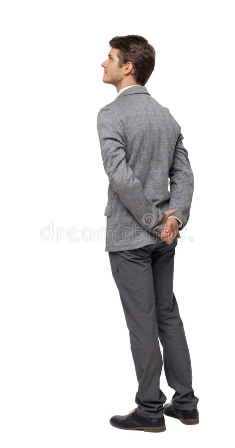Back view of Business man looks royalty free stock photography