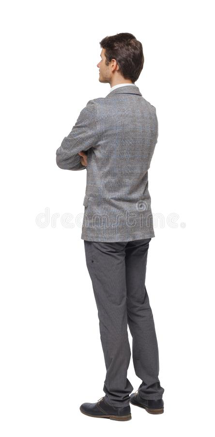 Back view of Business man looks royalty free stock photo