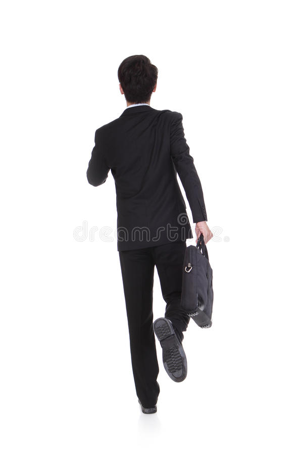 Download Back View Of A Business Man Running Stock Image - Image: 34381071