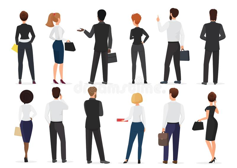 Back view of business office people group, man and woman characters standing together isolated vector illustration. Back view of business office people group royalty free illustration