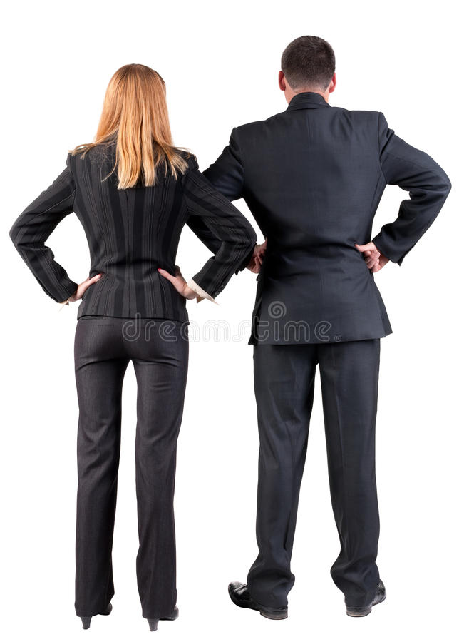 Download Back View Of  Business Team Look Into The Distance Stock Image - Image: 25045327