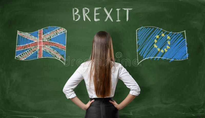 Back view of businesswoman standing on blackboard with UK and EU flags. Back view of a businesswoman standing on a background of a blackboard with UK and EU royalty free stock photo