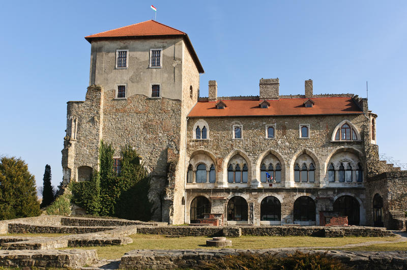 Back view of the castle of Tata stock photography