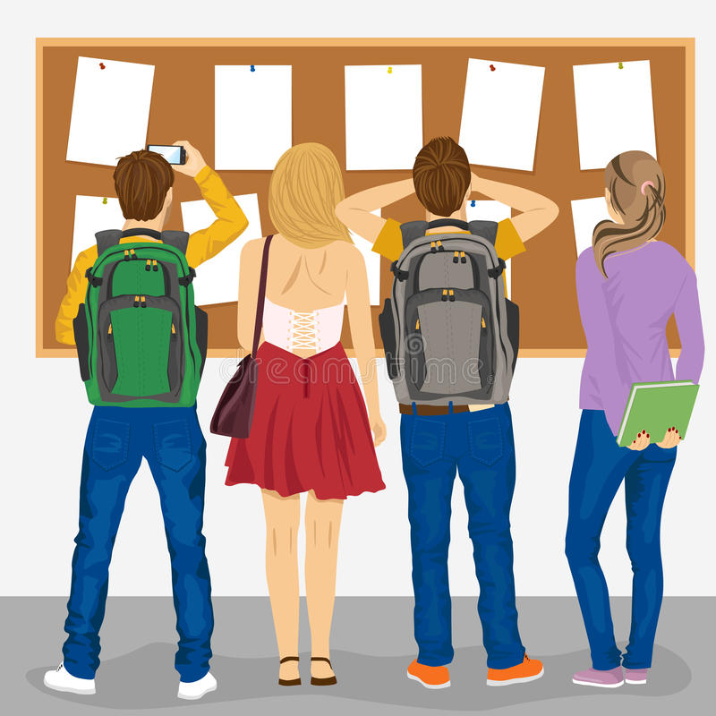 Back view of college students looking at bulletin board. Back view of college students looking at a bulletin board vector illustration