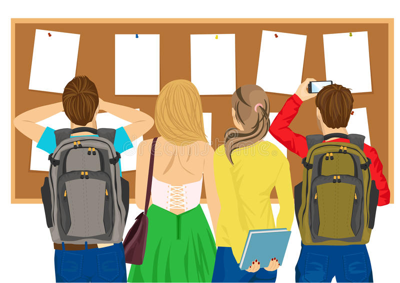 Back view of college students looking at bulletin board. Back view of college students looking at a bulletin board royalty free illustration