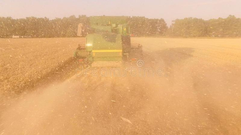 Back view of a combine. stock photos
