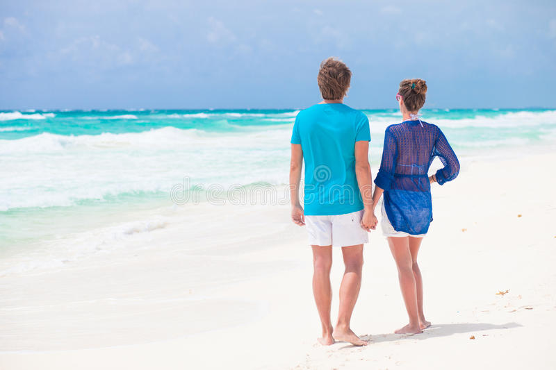 Download Back View Of Couple Holding Hands On Tropical Stock Image - Image: 38538725