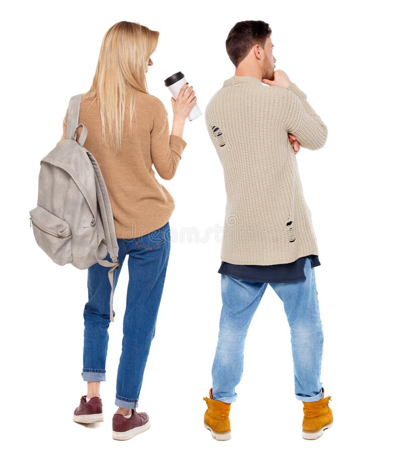 Back view of couple in sweater royalty free stock photos