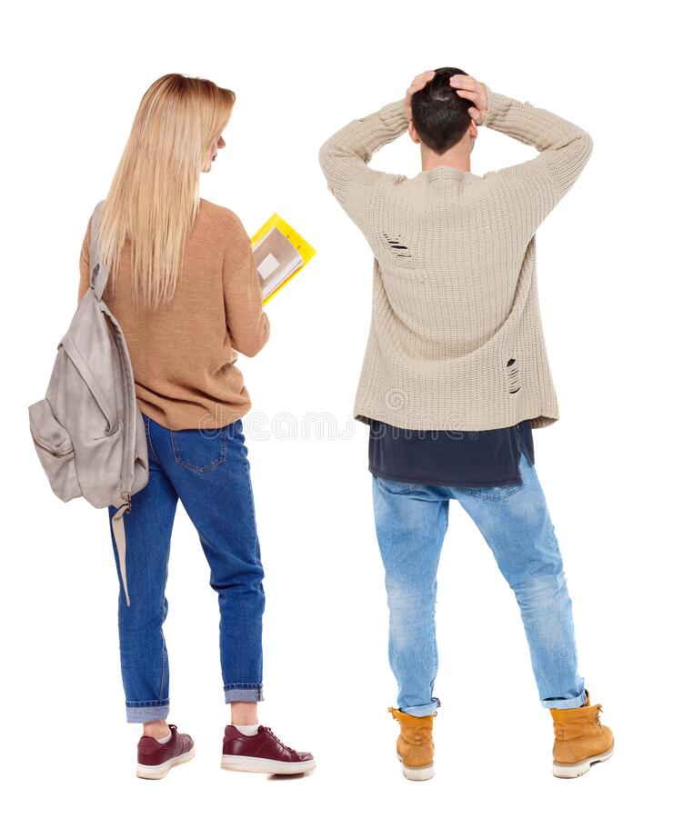 Back view of couple in sweater royalty free stock photography