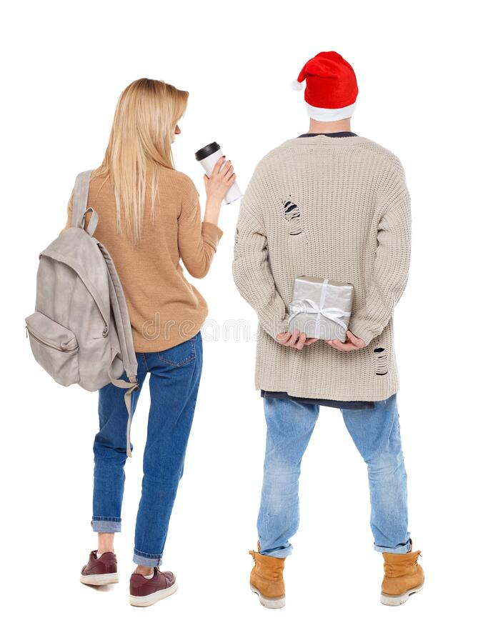 Back view of couple in sweater stock photos