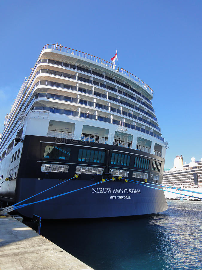 Back View Of Cruise Ship Holland America Line Stock Photo Image - Holland new amsterdam cruise ship