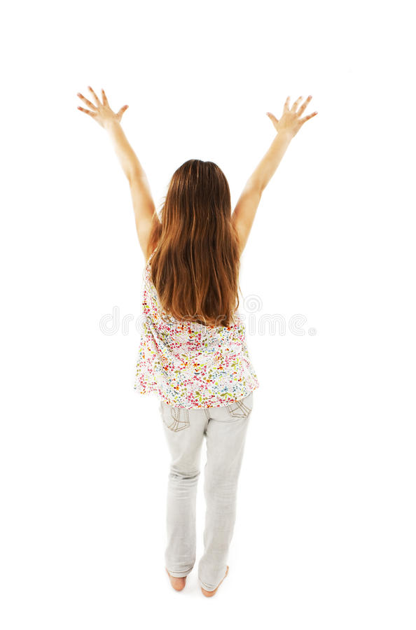 Back view of dancing beautiful little girl royalty free stock images
