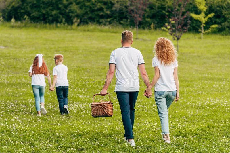 Back view of family holding hands and walking with picnic basket. In park stock image