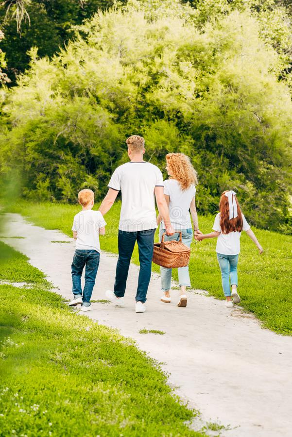 Back view of family with picnic basket walking together. In park stock photography