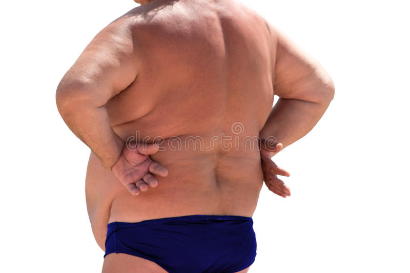 Back view of fat person. stock photo