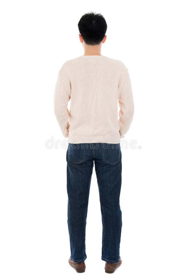 Back view full body casual Asian man stock image