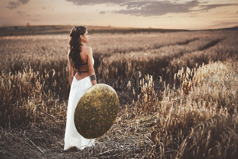 Back view of girl holding shield among grass in field. stock image