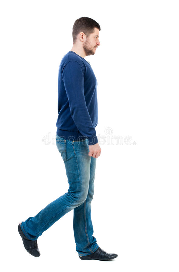 Back view of going handsome man. Walking young guy . Rear view people collection. backside view of person. Isolated over white background. bearded man in blue stock image