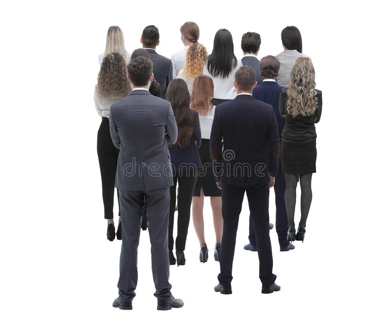 Back view group of business people. Rear view. Isolated over white background. royalty free stock image