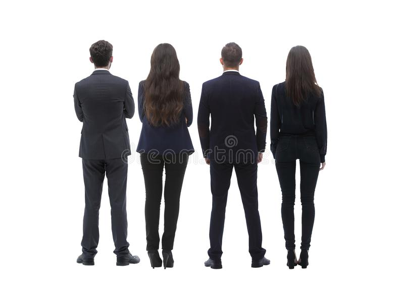 Back view group of business people. Rear view. Isolated over white background. stock photography