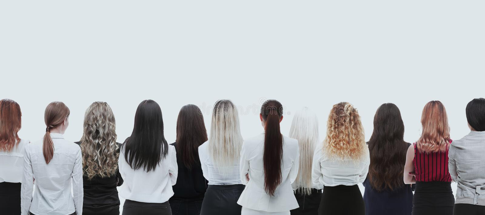 Back view group of business people. Rear view. Isolated over white background. royalty free stock photos