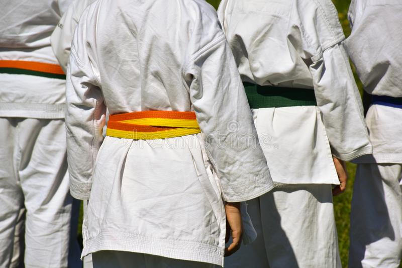 back view of a group of four kids practicing exercises of karate on the grass. The children wear typical karate uniform with stock photography