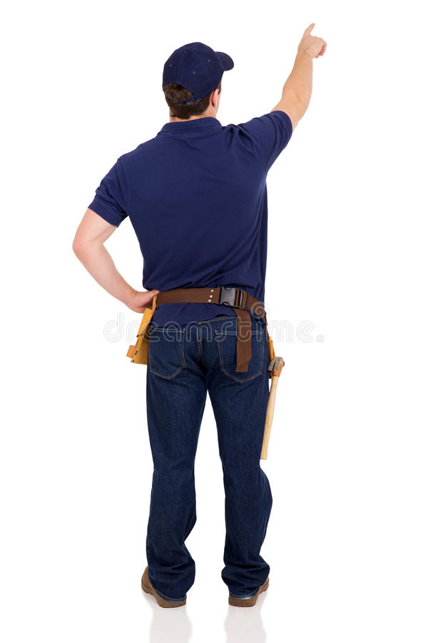 back view handyman pointing royalty free stock photos