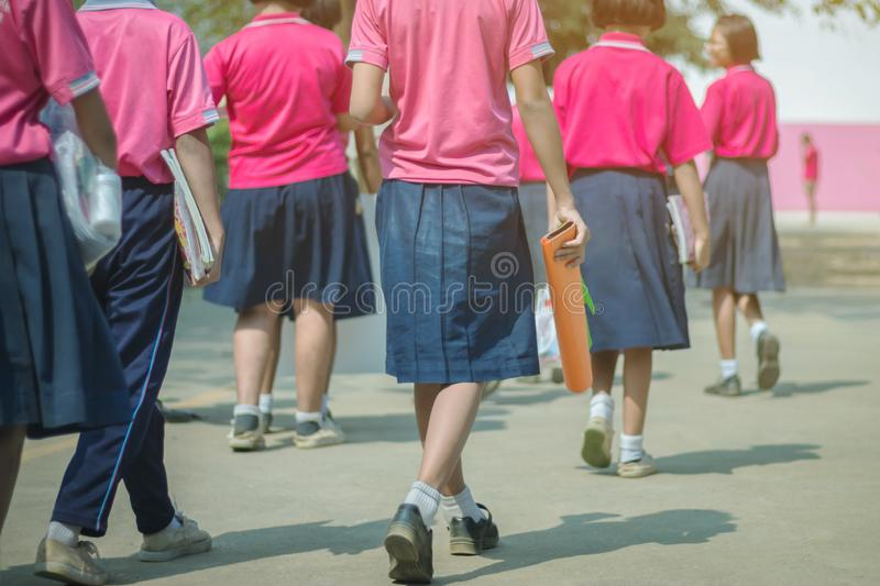 Back view of happiness primary girl students in pink shirt and blue skirt walk to classrooms stock photo