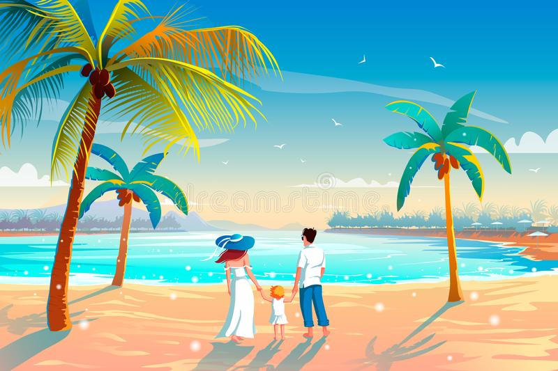 Back view of a happy family on tropical beach summer vacation Father, mother and child against blue sea royalty free illustration