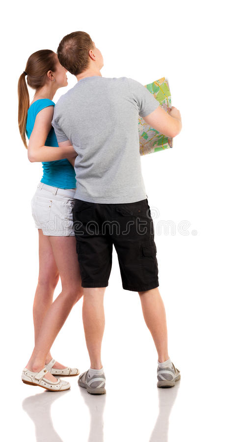 Download Back View Journey Of The Young Couple Looking At The Map. Royalty Free Stock Image - Image: 29705616