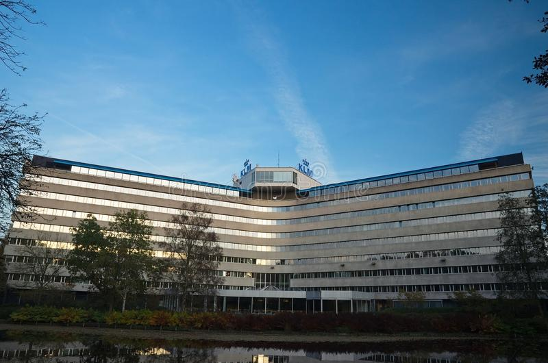 Back view of the KLM Headquarters Building stock image