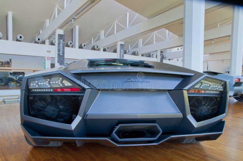 Back View of Lamborghini Car stock image