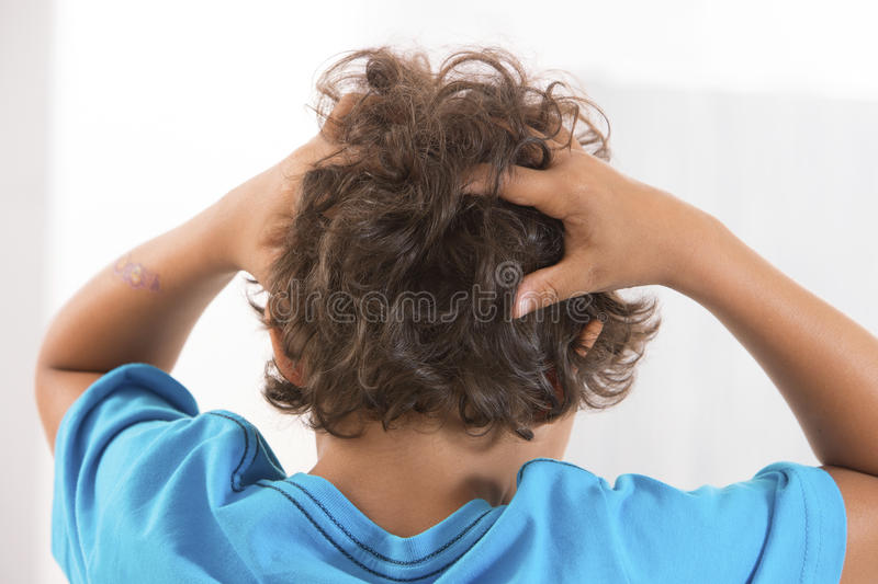 Back view of little boy Itchy Scalp from Head Lice. Little boy back view from Itchy Scalp from Head Lice royalty free stock photography
