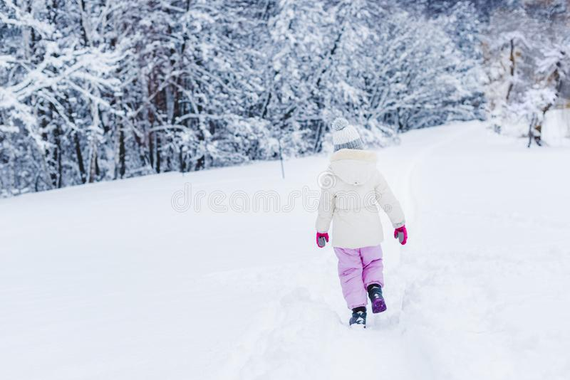 back view of little child in warm clothes walking on snow in winter park stock image