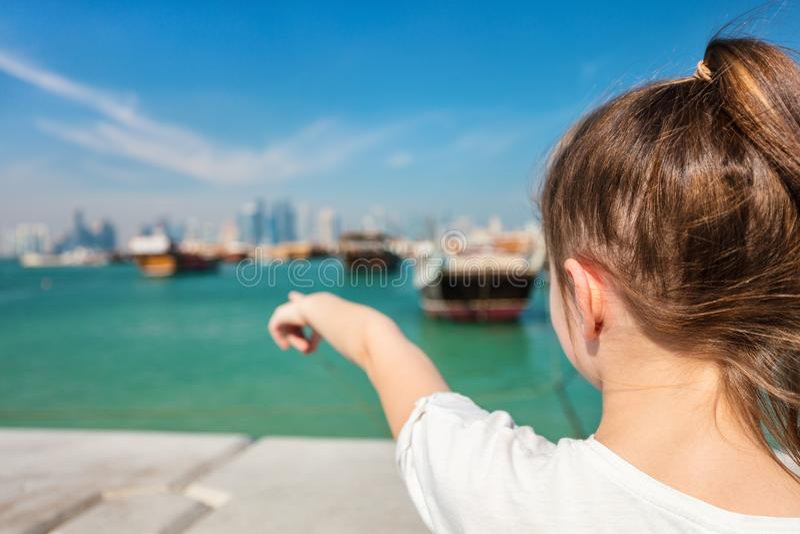 Little girl in Doha Qatar stock photography